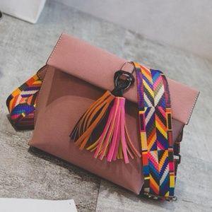 Handbags - Saddle Tassel Crossbody Bag , Dark Dusty Pink,